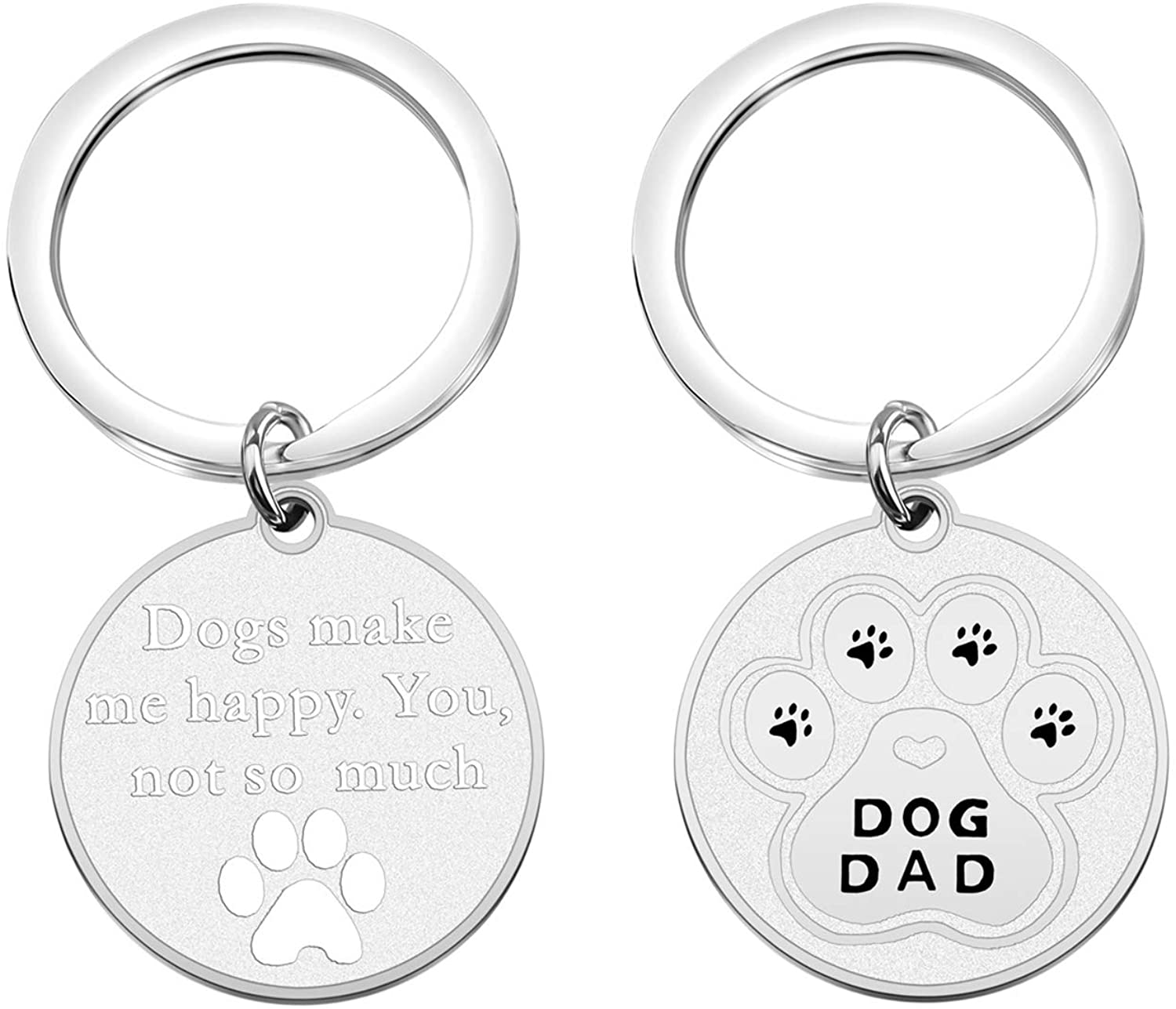 Gzrlyf Dog Owner Keychain Dogs Make Me Happy You not so Much Dog Lover Gifts for Dog Mom Dog Dad