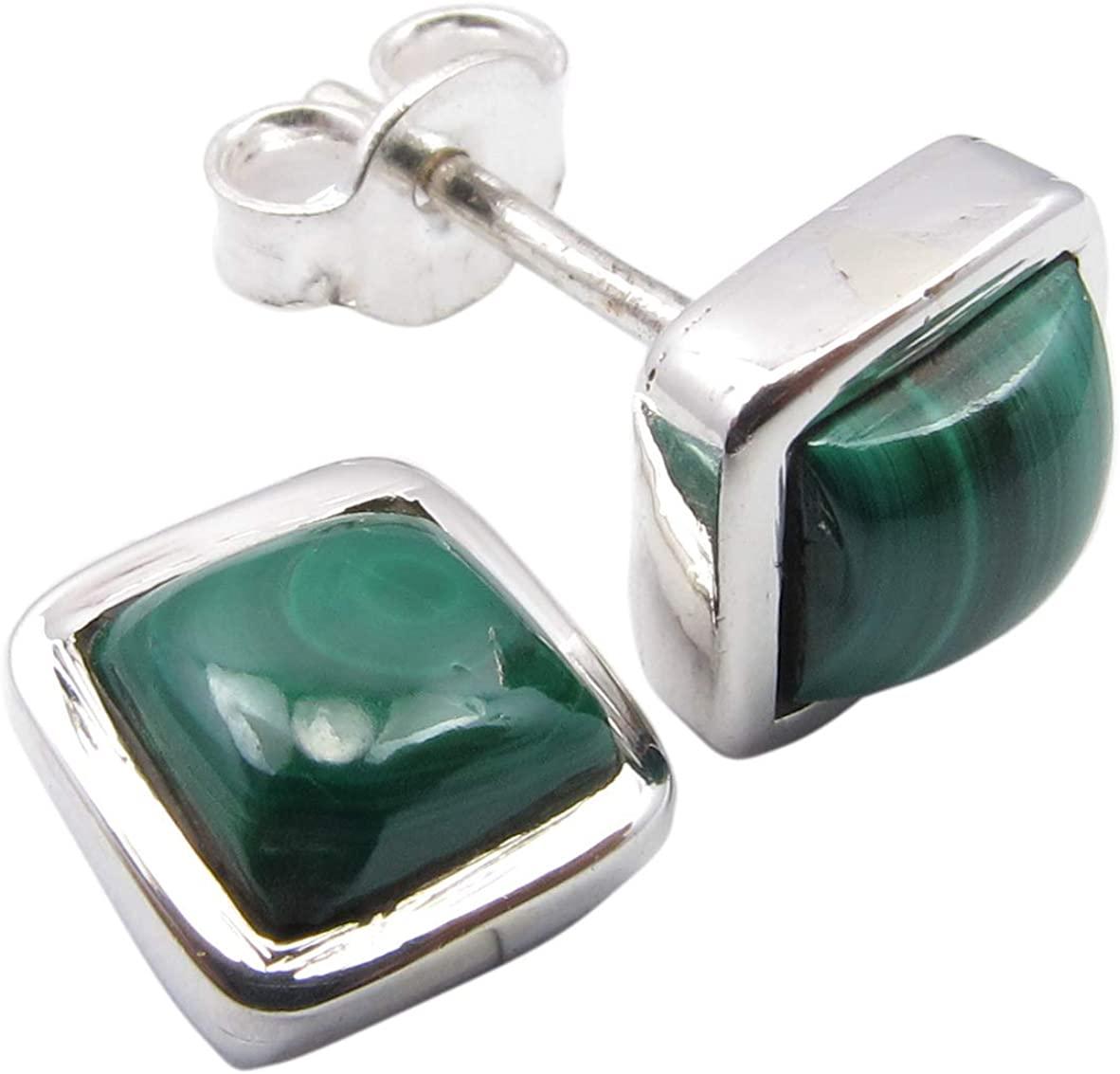 SilverStarJewel 925 Sterling Silver Green Malachite Stud Earrings 0.3
