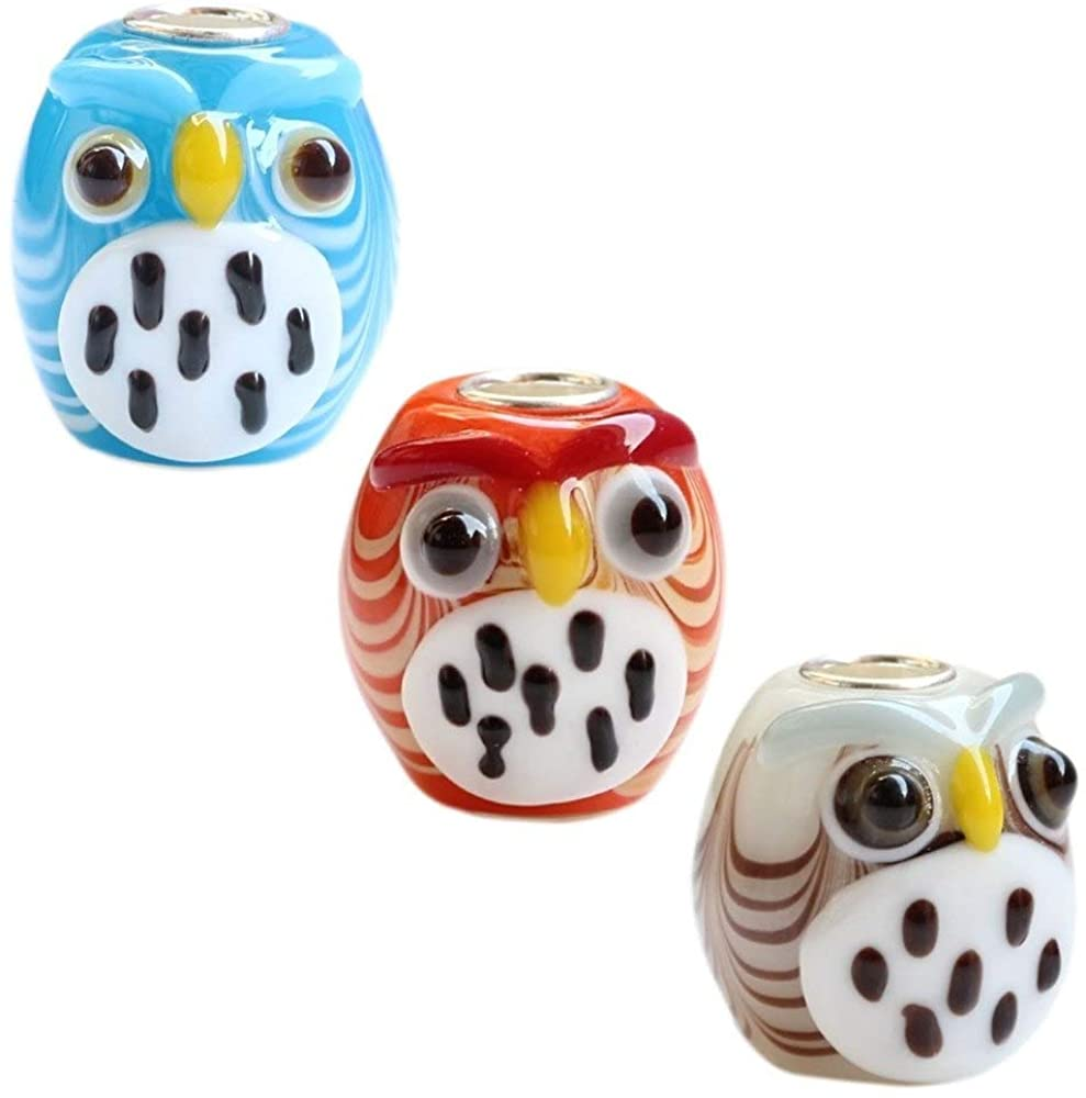 EVESCITY 925 Silver Colorful 3D Animal Owl Murano Glass Beads for Charm Bracelets ♥ Perfect Jewelry Gifts for Her ♥
