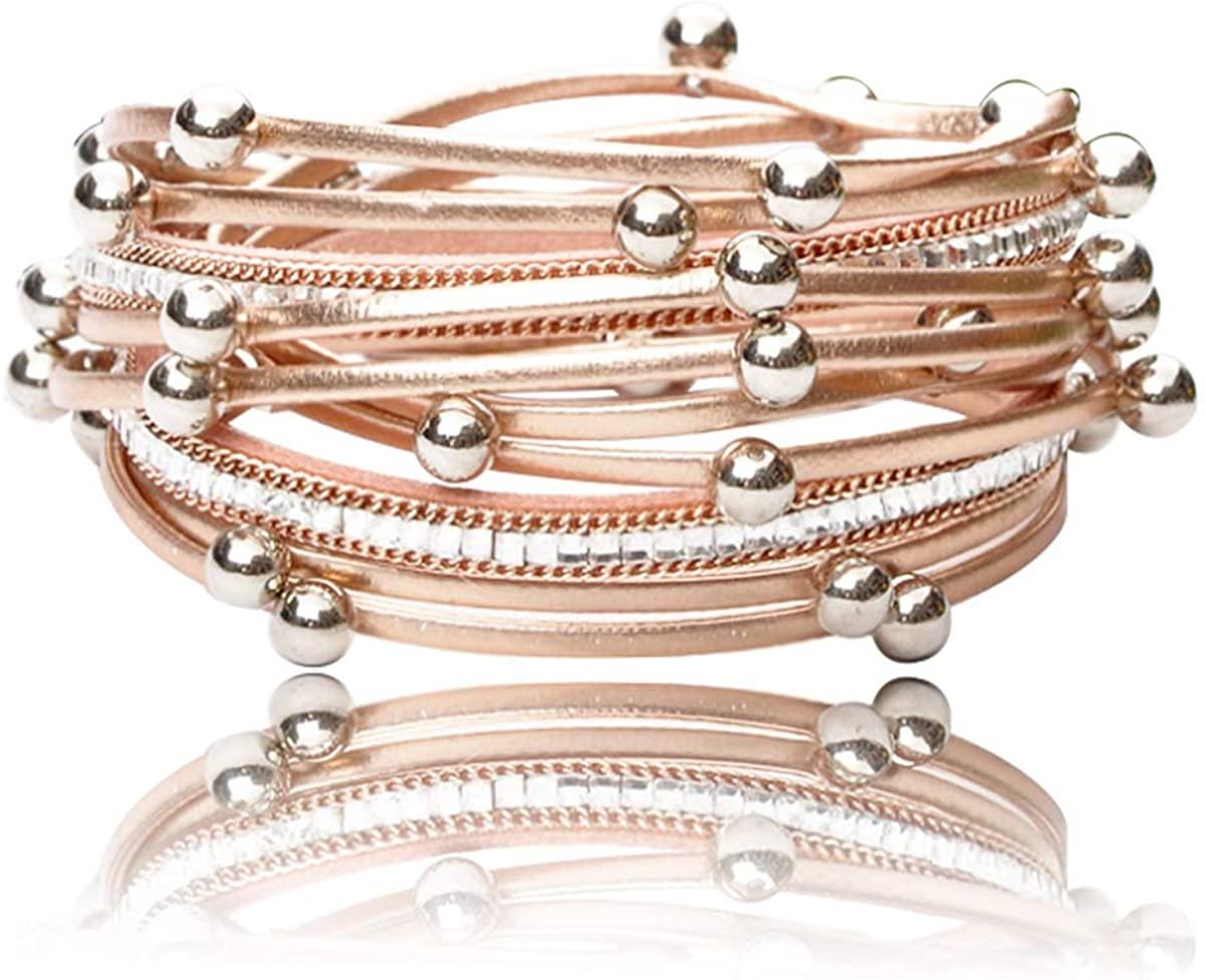 REEBOOOR Champagne Rose Gold Bracelet Women`s Leather Wrap Bracelet Multilayer Bracelets Handmade Jewelry Bohemian Gifts for Girls, Lady,Mother