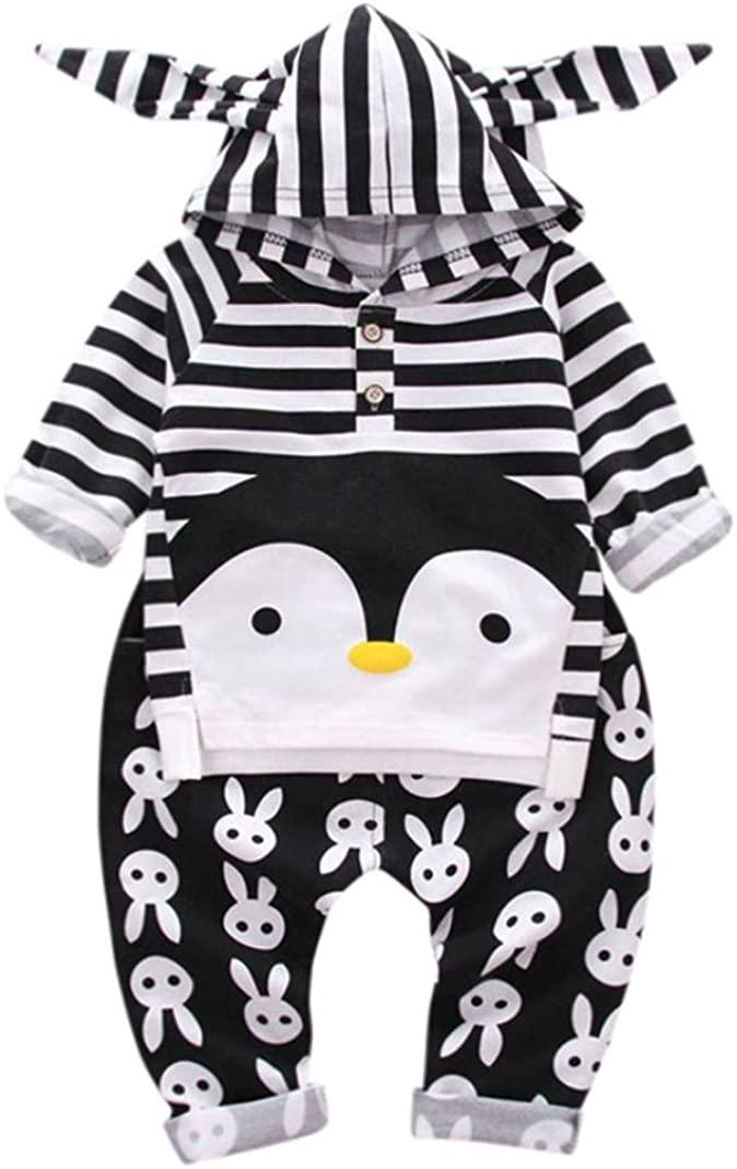 LanpanToddler Kids Baby Boys penguin Rabbit Print Tops+ Pants Outfit Clothes Set