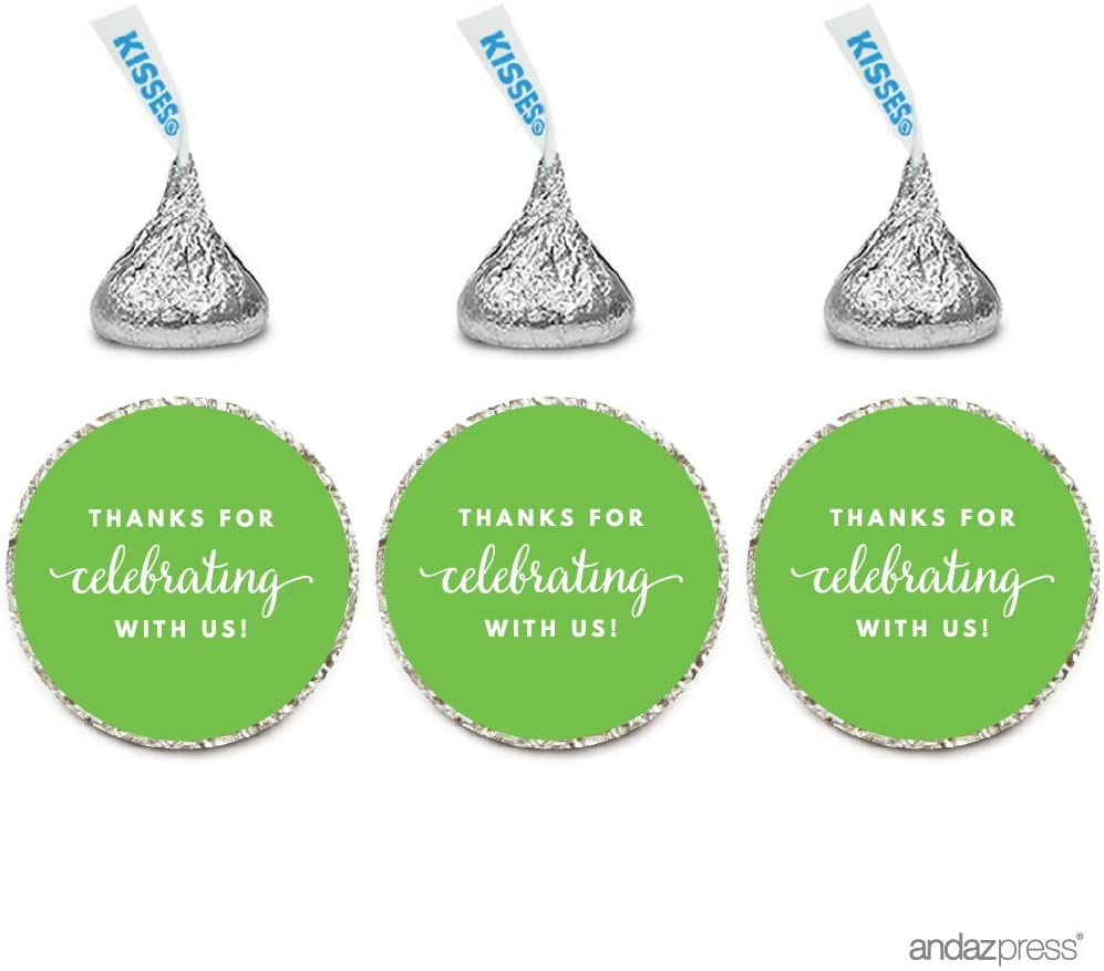 Andaz Press Chocolate Drop Labels Trio, Fits Hershey's Kisses Party Favors, Thanks for Celebrating with Us, Kiwi Green, 216-Pack