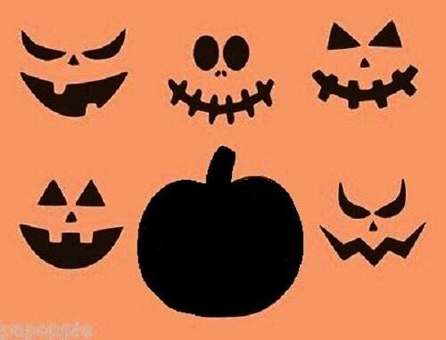 Stencil for Painting on The Wall Writing/Signage/Drawing/Decorate Fabric/Wood/Glass Craft DIY Stencil Halloween Pumpkin with 5 Faces Jack O Lantern for Pillows Signs Borders