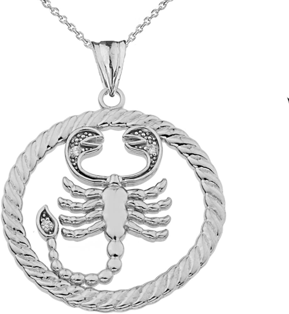 Fine Sterling Silver Diamond Scorpio Zodiac Sign Rope Charm Pendant Necklace