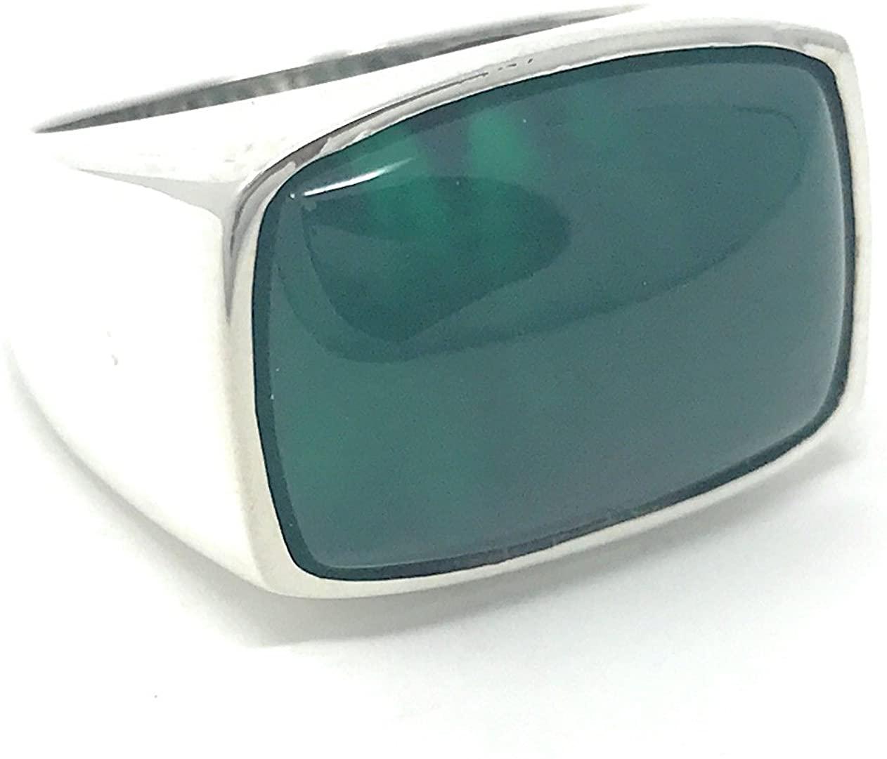 KAR 925K Stamped Sterling Silver Green Agate (Aqeeq) Men's Ring K3R