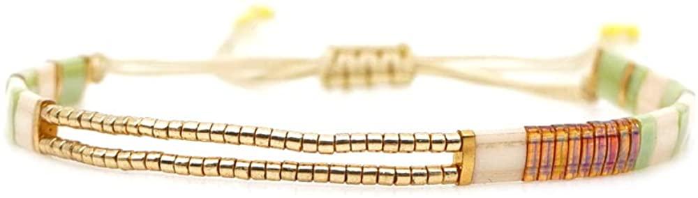annafoya Fashion Bohemian Colorful Gold Tila Beads Seed Beads Cuff Bangle Bracelet Gift for Women Girls
