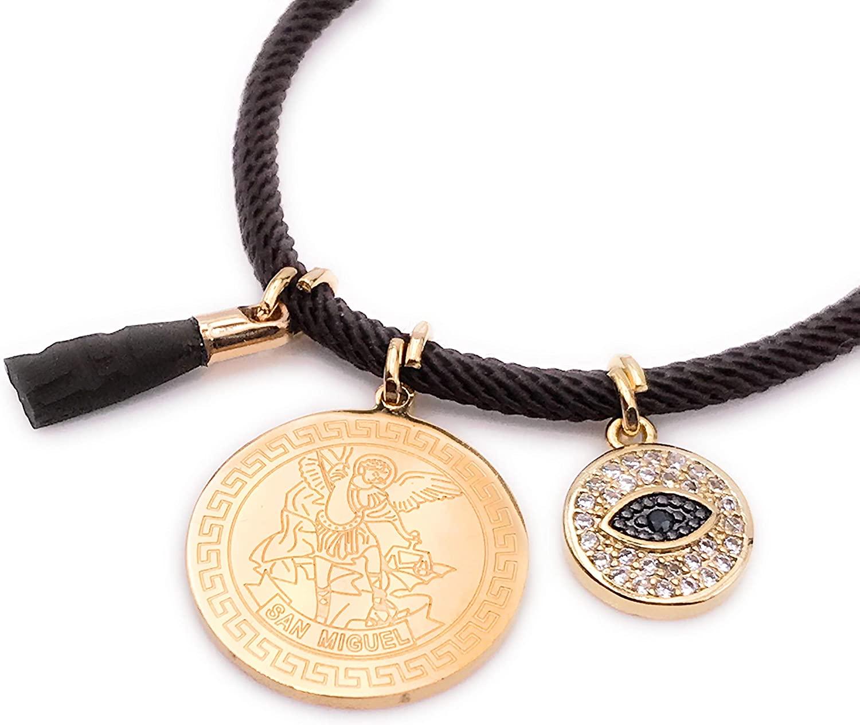 LESLIE BOULES 18K Gold Plated Saint Michael Archangel Brown String Bracelet Adjustable Charm Evil Eye & Genuine Azabache Hand