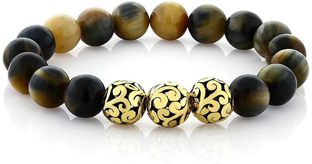 Gem Stone King 7 Inch Round 6mm Tiger's Eye Beaded Stretchy Bracelet with 3 Gold Design