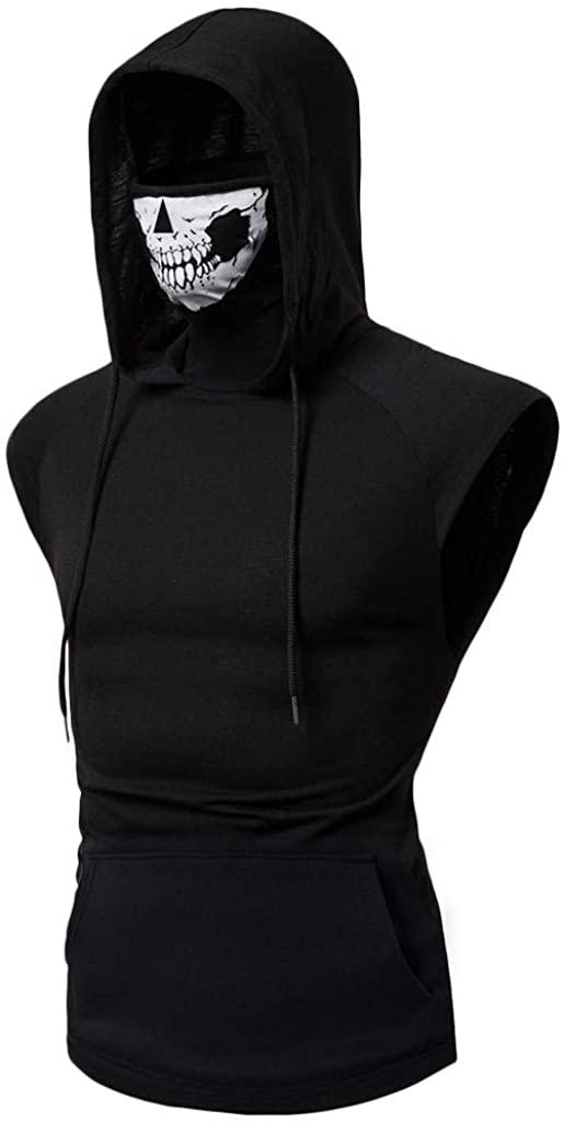 Mens Sweatshirt,Sloid Mask Skull Long Sleeve Sport Pullover Hooded Zip Sweatshirt Jacket Coat