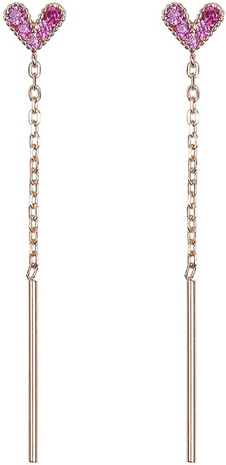 Hiqmic 925 Sterling Silver Gold Plated Zirconia V Heart Chain Ear Stud Earrings