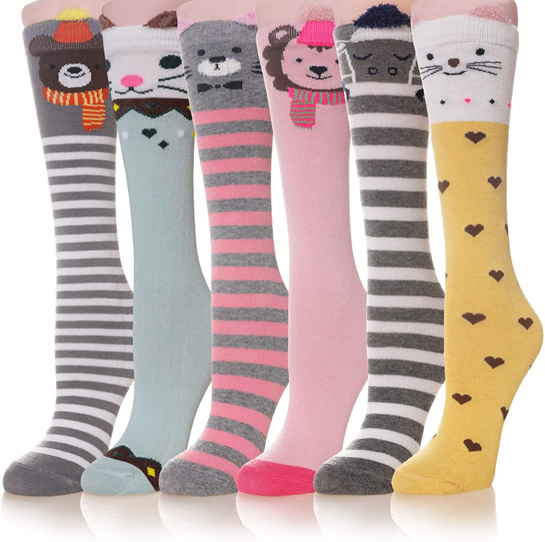 Girls Knee High Socks Cotton Cartoon Animal Pattern Long Boot Warm Socks For Kids 6 Pairs