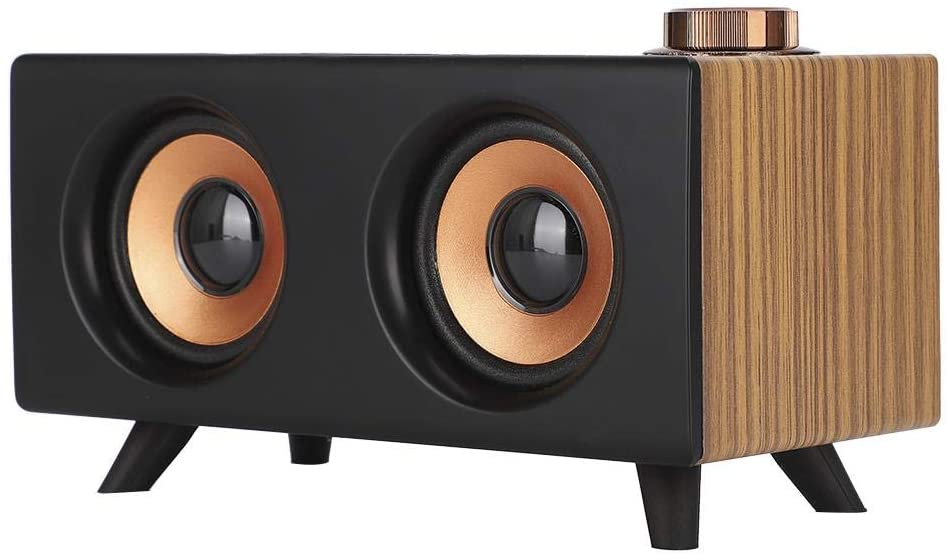 Bluetooth Speaker, Retro Wooden Mini Speaker Wireless 360 Degree Stereo HiFi Music Player Compatible with USB, Memory Card, AUS for Computer (Wood)