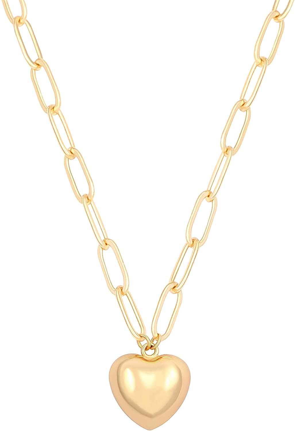 """AUSIKA 18K Gold Plated Heart Pendant Necklace for Women Dainty Layered Minimalist Jewelry Paperclip Link Chain Statement Necklaces 18"""""""