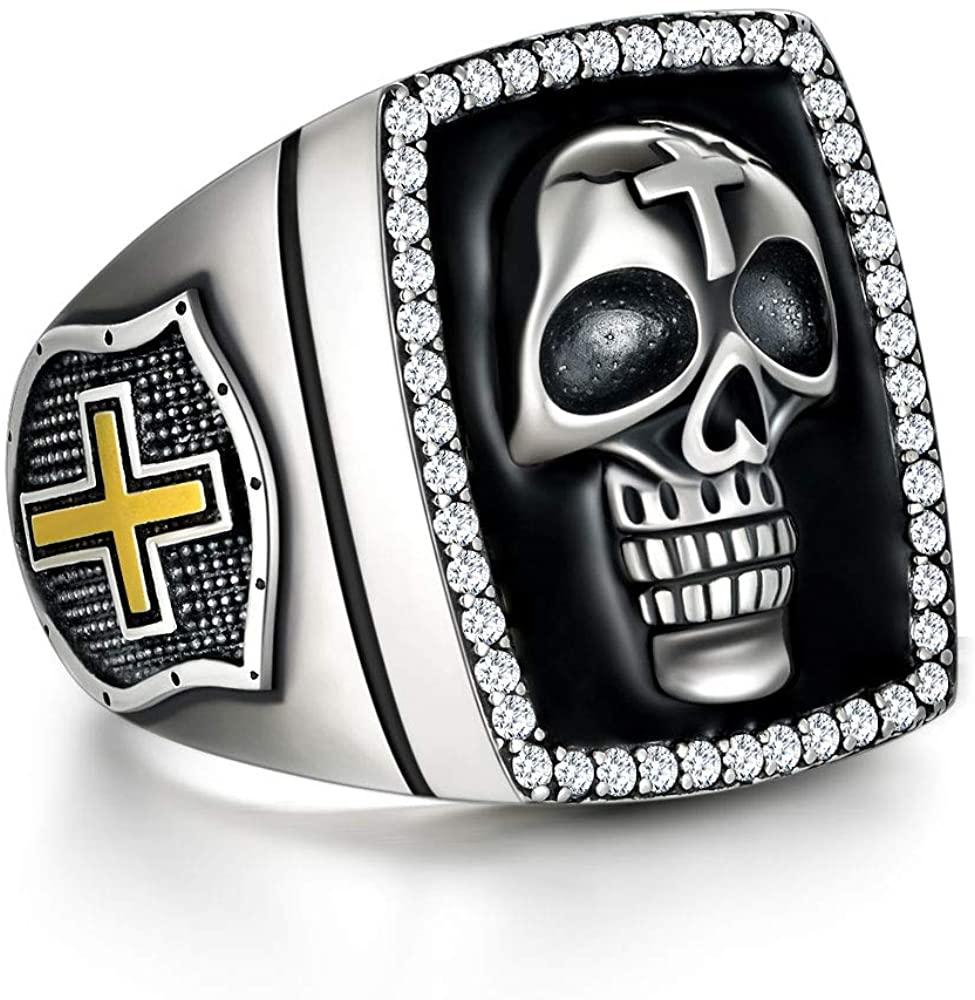 PDTJMTG Skull Ring for Men Sterling Silver Cool Biker Signet Ring Halloween Gothic Skull Head Stacking Ring