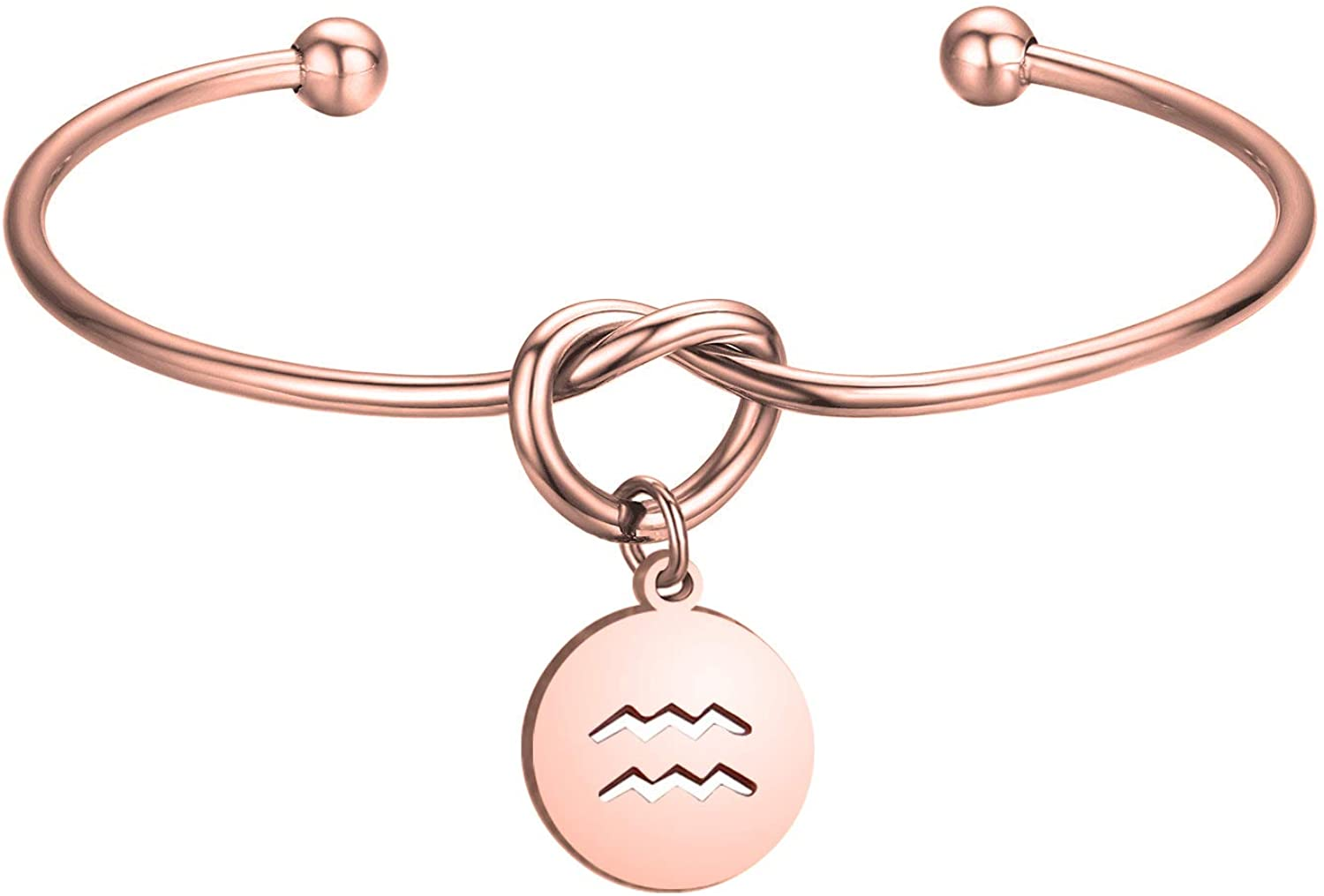 Zuo Bao Rose Gold Love Knot Bracelet Tie The Knot Cuff Bangle with Zodiac Signs Disc Charm