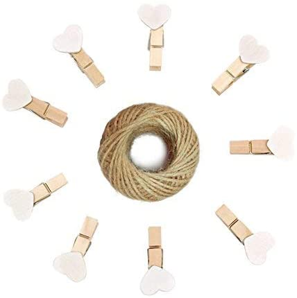 jijAcraft Mother's Day Photo Clips,Small Wood Clips,100Pcs White Mini Heart Shaped Wooden Clothespin with 100 Feet Jute Twine,3.5cm Craft Clips for Wedding Decoration