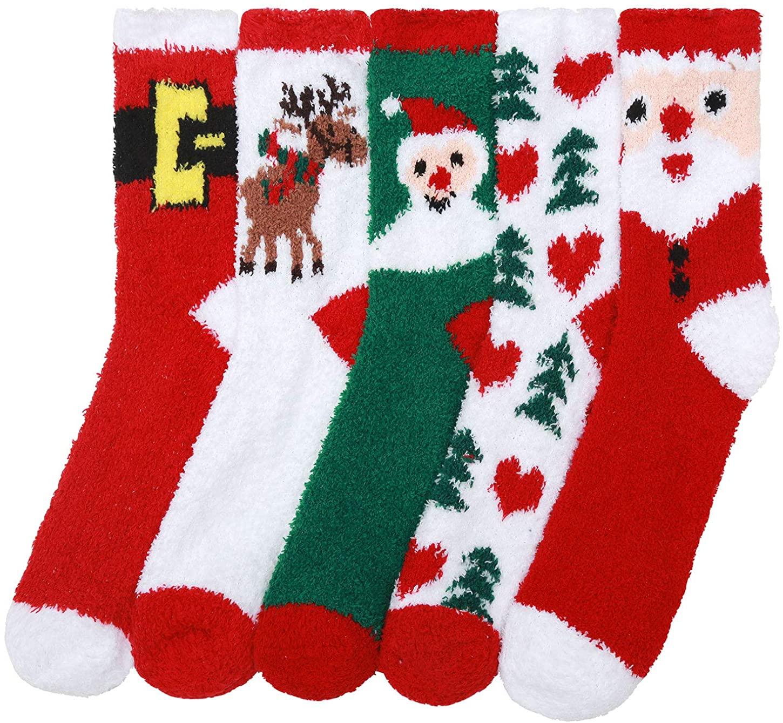 Fuzzy Socks Women Winter Warm Soft Plush Slipper Cozy Fluffy Sock 5 Pairs