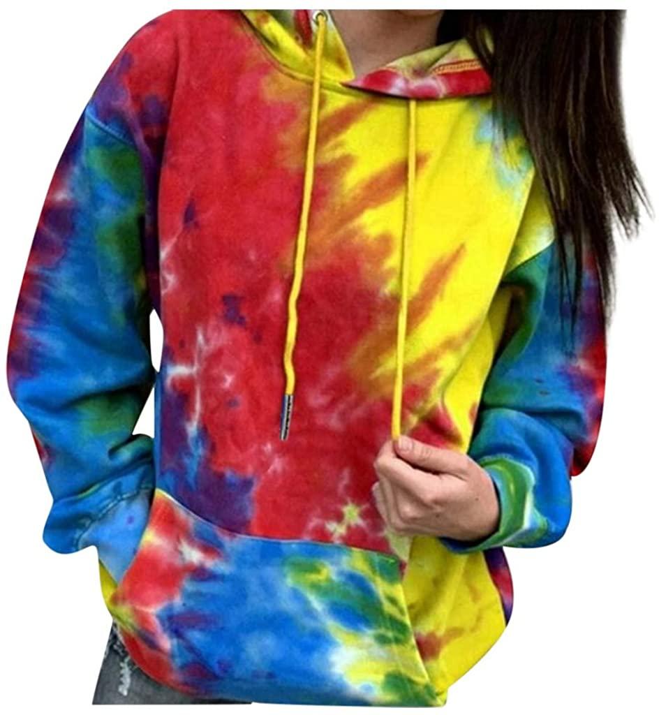 Ghazzi Women's Long Sleeve Tops Gradient Tie-Dye Print Pullover Sweatshirt with Pocket Plus Size Lightweight Sweatshirt Top Yellow