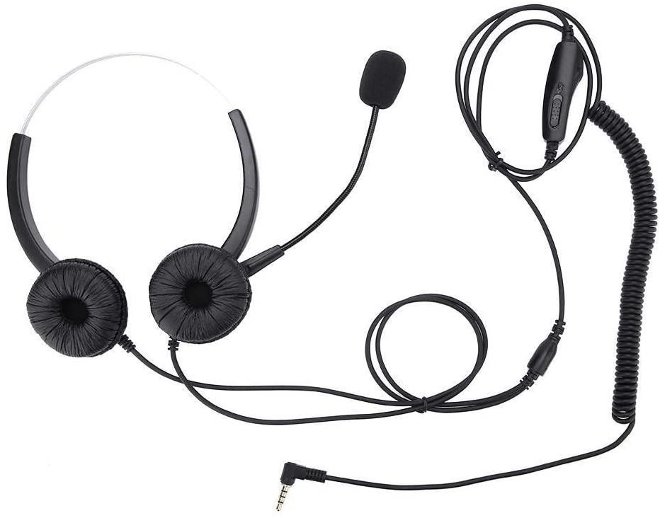 Maxmartt H800D-3.5 Single 3.5mm Plug Headphone with Microphone Volume Adjustment & Mute Function Black
