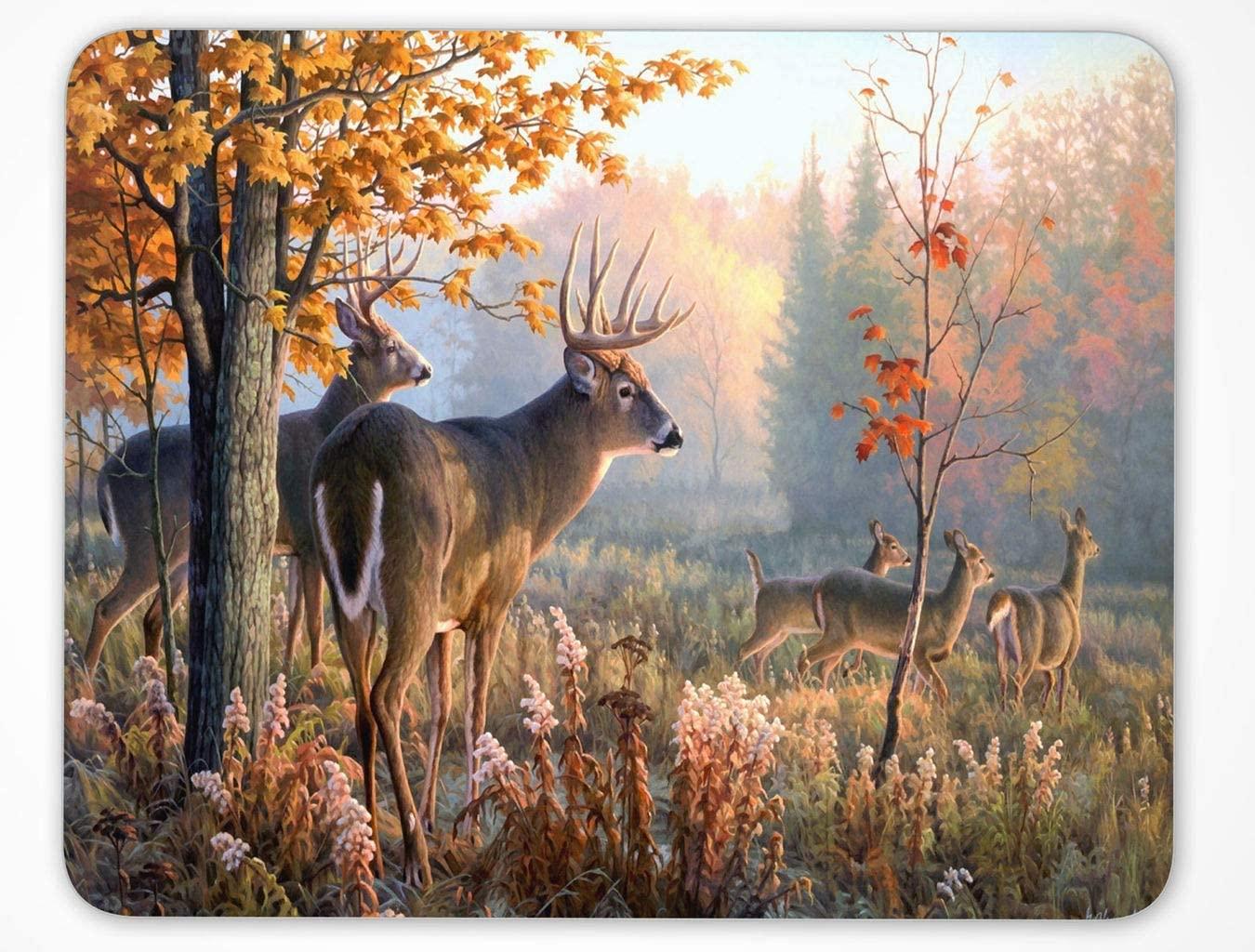 Nature Wildlife Animal Deer Hunting Season Mouse Pad, Autumn Forest Deer Mouse pad (Deer-Rec2)