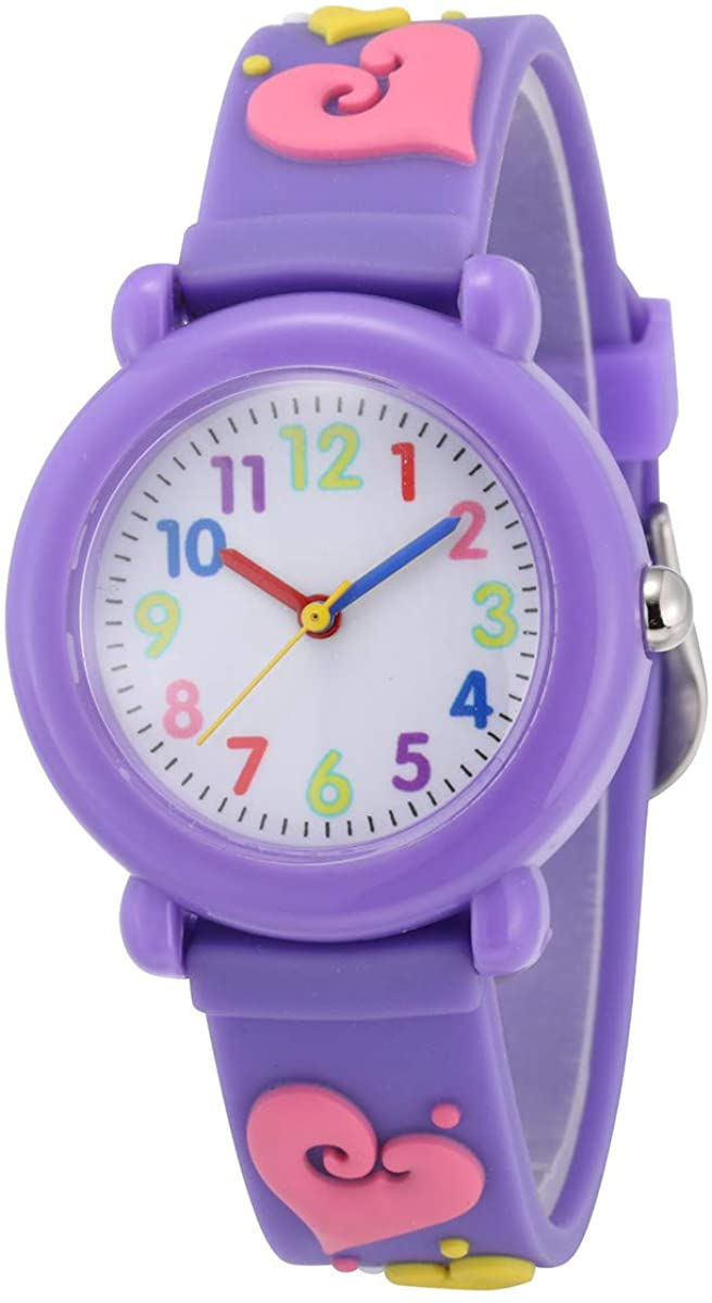 Jewtme Kids Time Teacher Watches 3D Cute Cartoon Silicone Children Toddler Wrist Watches for Ages 3-10 Boys Girls Little Child