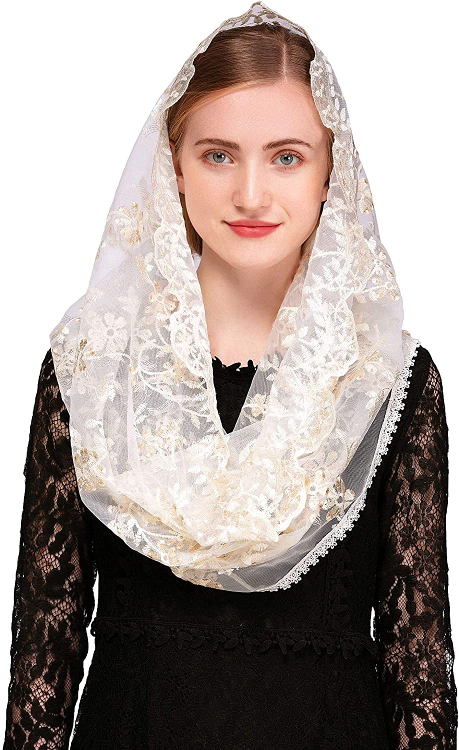 Pamor Chapel Veil Mantilla Veils Latin Mass Gold White Embroidered Head Covering Lace Scarf