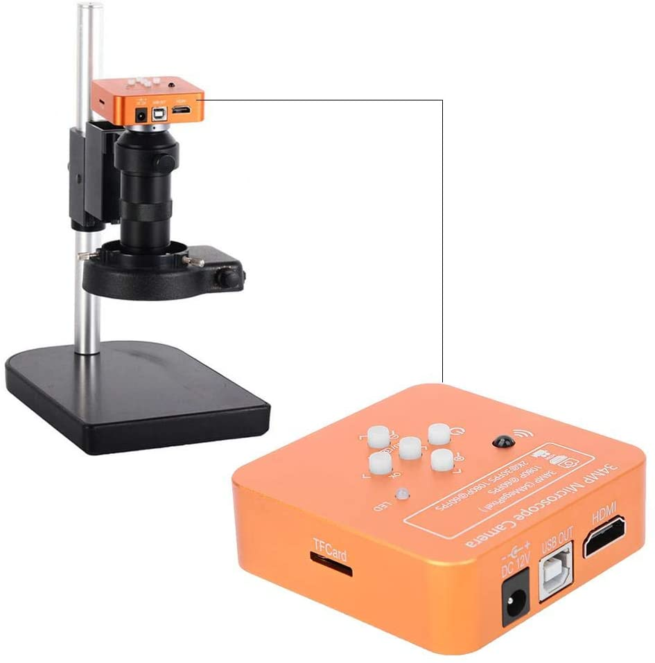 34MP Digital Microscope Camera, Orange 2K 1080P HDMI USB Microscope Camera Industrial Microscope, with Digital Zoom, R/G/B Adjustable, for Phone Repairing(US Plug)