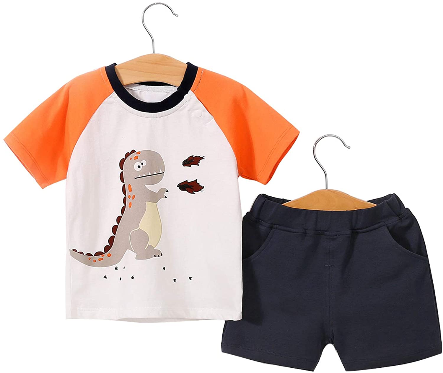 YFYBaby Baby Boys Girls Clothes Toddler Boys Cotton Clothes Sets T-Shirt&Shorts 2 Packs1-4yeas