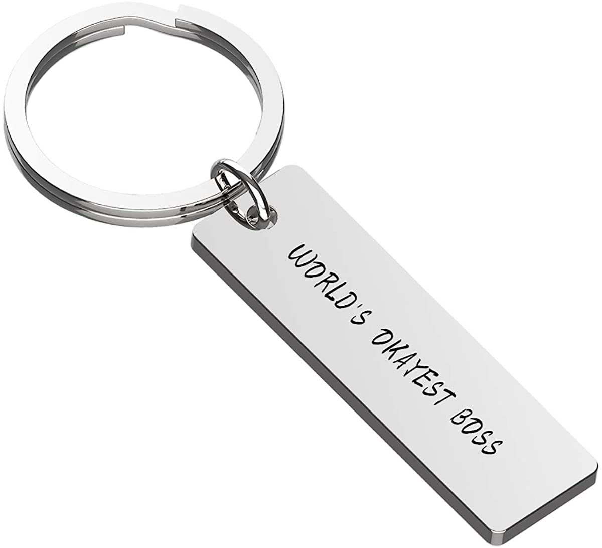 Haoflower Unique Boss Gift World's Okayest Boss Employee Keychain Gift Appreciation Gift Boss's Day Funny Manager or Supervisor Gift