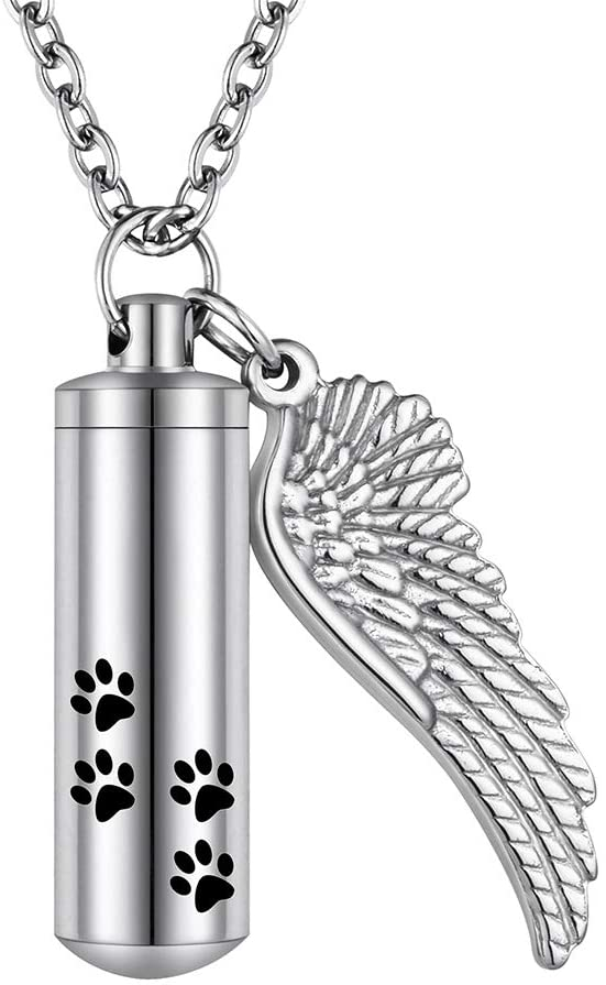 abooxiu Cylinder Cremation Necklace for Pet Ashes Urn Necklace with Angel Wing Pet Paw Ashes Necklace for Dog/Cat Pet Memorial Keepsake Jewelry