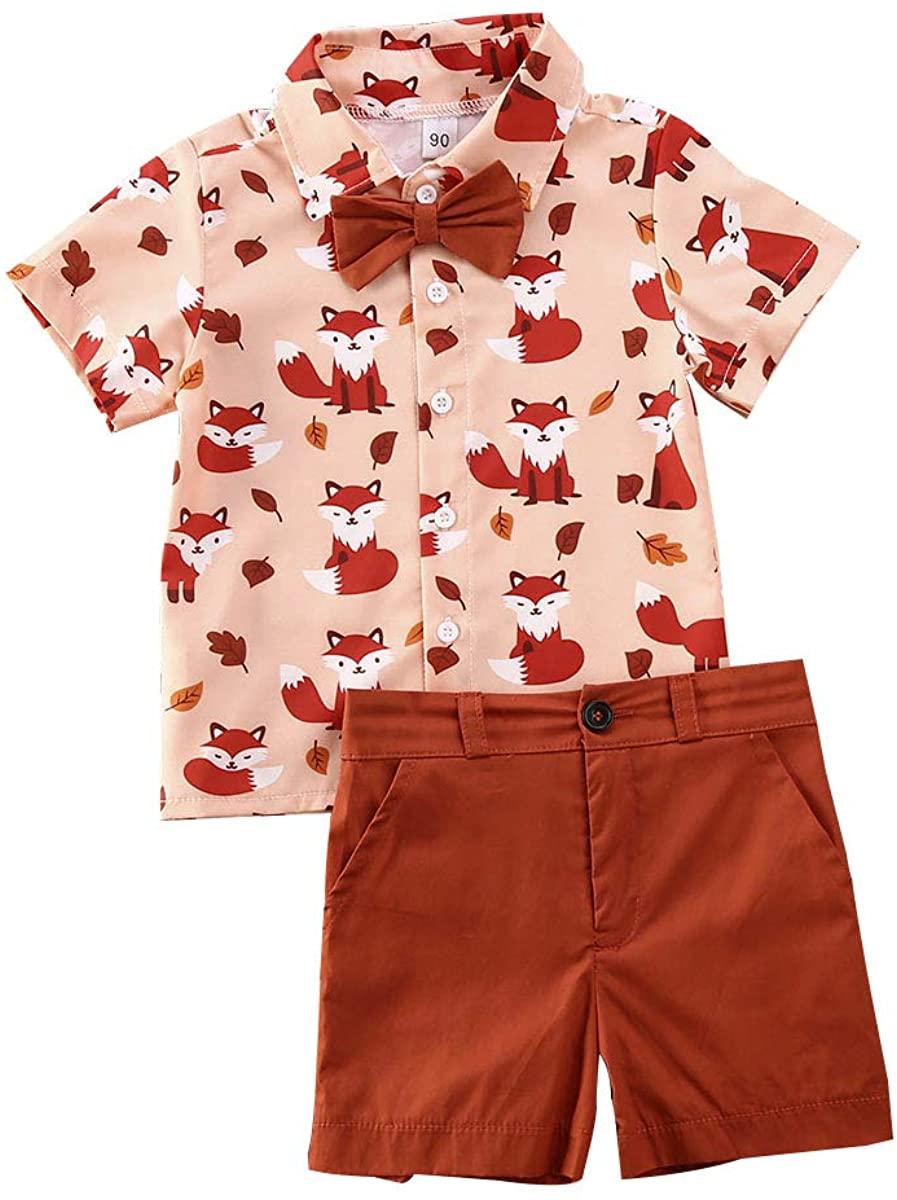 Toddler Baby Boys Summer Clothes FoxShort SleeveBowtie Shirt+Shorts Pants 2pcs Gentlemen Outfits Playwear Set