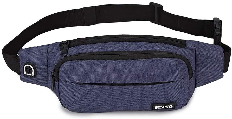 Fashion Fanny Packs for Men Women Polyester Waist Pack Large Running Pouch adjustable Belt Bag(Blue)