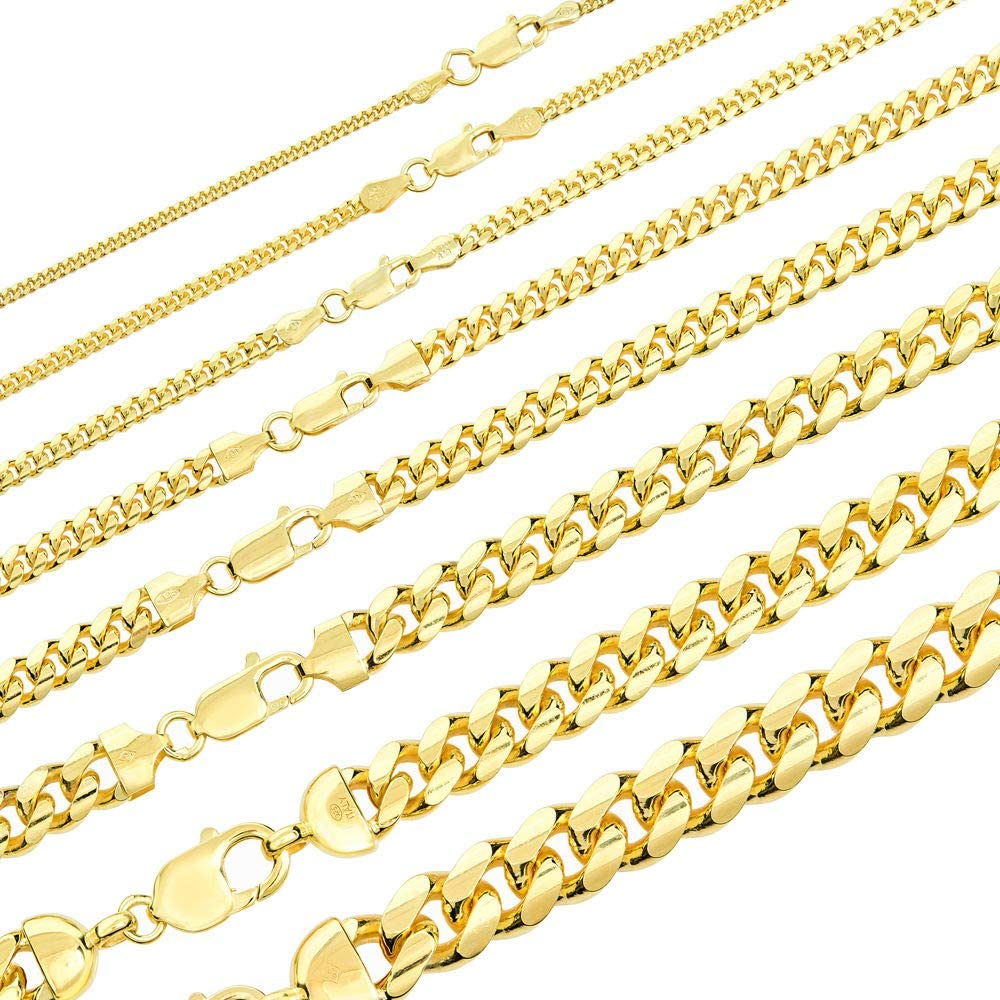 Solid 925 Sterling Silver Miami Cuban Link Chain - 14k Gold Plated - 2-12mm 18-30