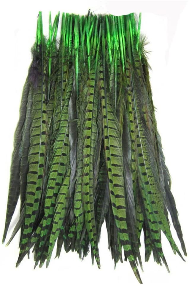 KOLIGHT Set of 100pcs Natural Dyed Pheasant Tails Feathers 14-16 Inch DIY Decoration (Green)