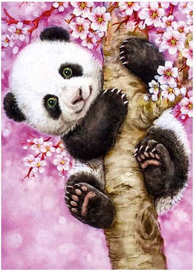 ufengke Panda on Pink Tree 5D Diamond Painting Kits by Numbers Full Drill Diamond Embroidery Cross Stitch Mosaic Making, 25 35cm Design