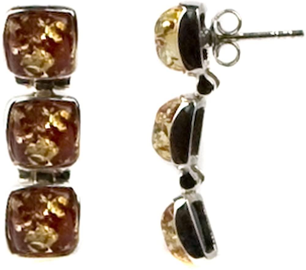 Red Amber Sterling Silver Stud Earrings