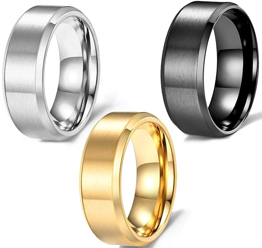 FLIUAOL 4mm 6mm 8mm Titanium Rings Wedding Rings for Men and Women
