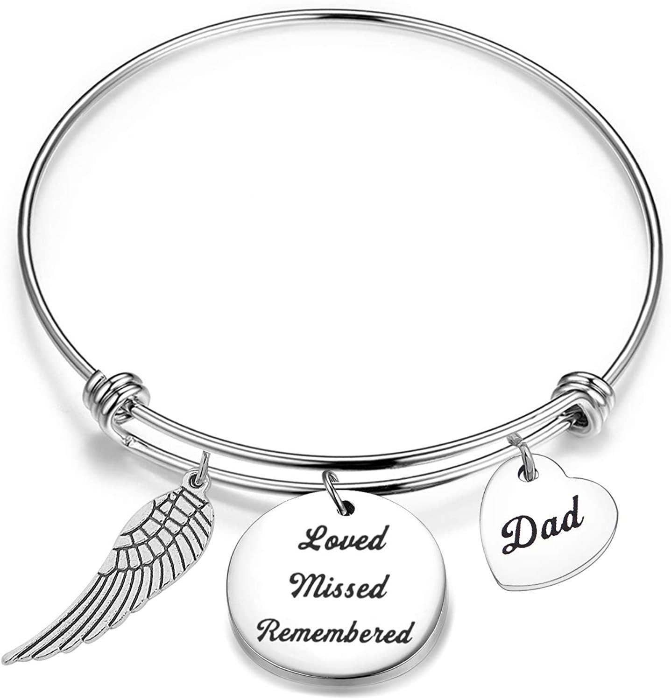CHOORO Dad Memorial Bracelet Loved Missed Remembered Bangle Sympathy Gift Loss of Father Keepsake