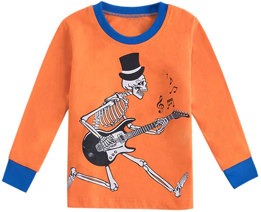 Csbks Kids Novelty Skeleton Glow in The Dark T-Shirt Boys Girls Cotton Long Sleeve Tee Tops