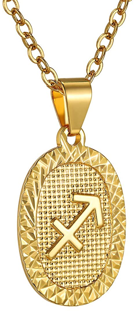 GoldChic Jewelry Personalized Zodiac Coin Necklace, Coin Pendant, Horoscope Astrology Necklace, Gold Medallion Zodiac Necklace