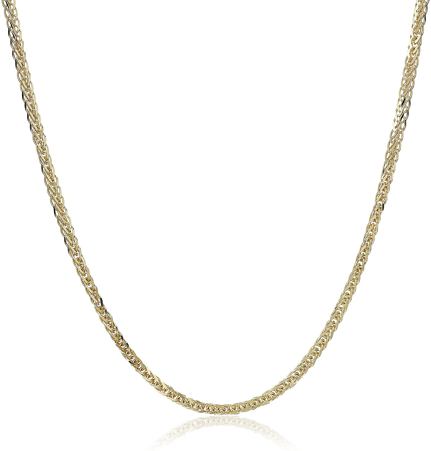 MCS Jewelry 14 Karat Yellow OR White Gold Square Wheat Chain Necklace 1.8mm (Length: 16