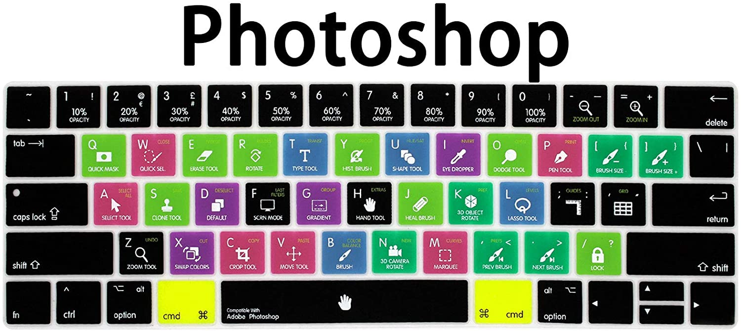 WYGCH Photoshop PS Shortcuts Hotkey Ultrathin Keyboard Cover Compatible MacBook Pro 13 15 inch 2019 2018 2017&2016 with Touch Bar&Touch ID Model:A2159 A1989 A1706/A1990 A1707,USA Version