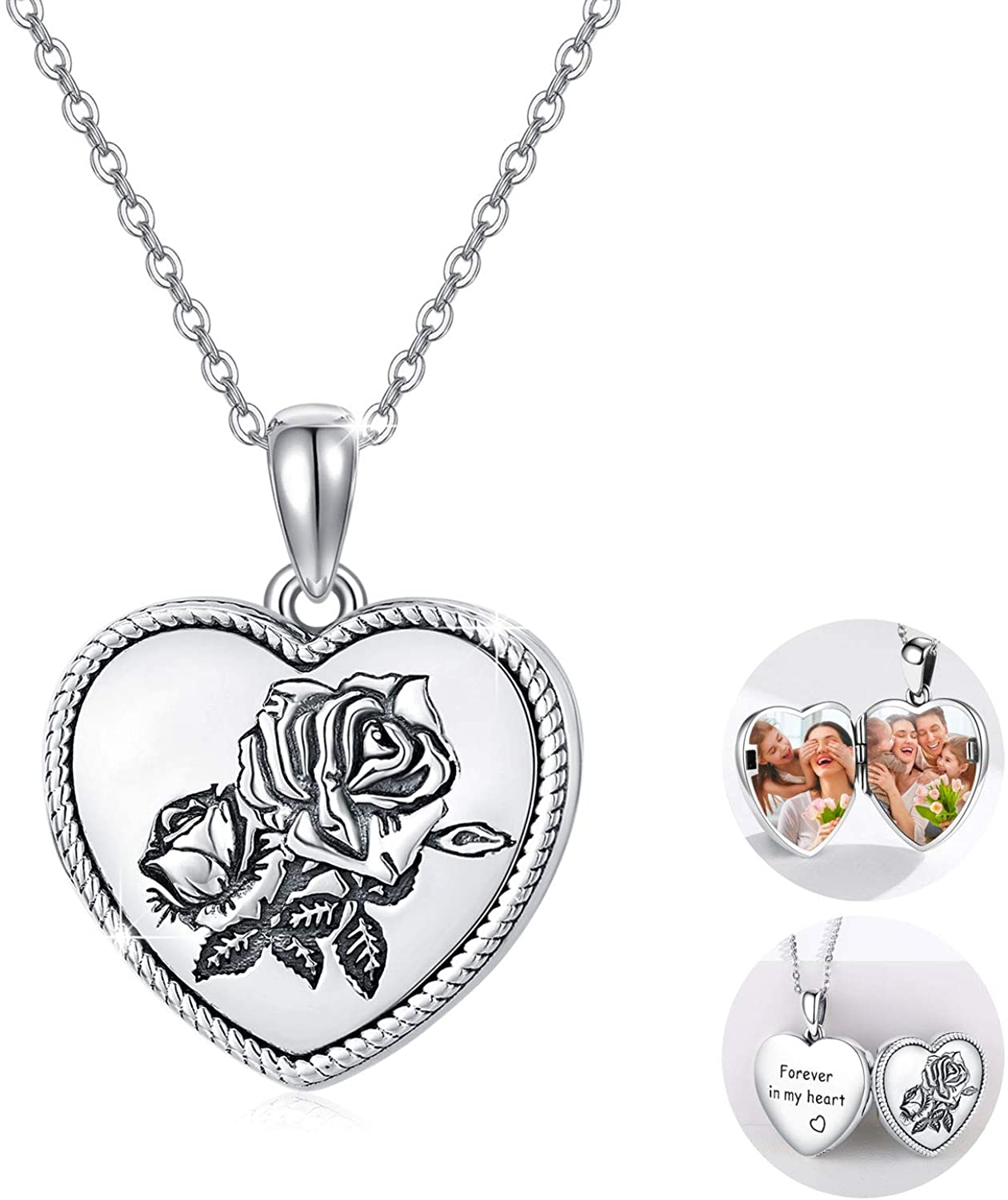 """Rose Flower Heart Shaped Locket Necklace Sterling Silver That Holds Picture Photo Necklace """"Forever in My Heart"""" Dainty Vintage Jewelry Birthday Personalized Custom Gifts for Women Mother Girlfriend"""