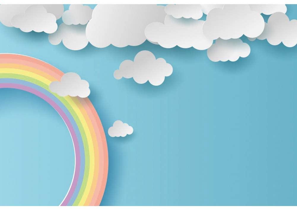 OERJU 10x6.5ft Baby Shower Backdrop Cartoon White Cute Clouds Rainbaow Blue Sky Newborn Portrait Photo Kids Children Happy Birthday Photography Background Birthday Party Decor Banner Photocall Props