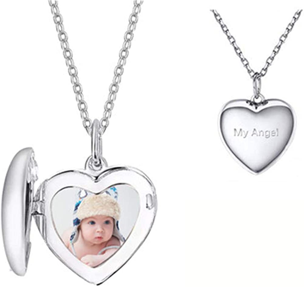Funcok Personalized Heart Locket Pendant 925 Sterling Silver Custom Photo Necklace