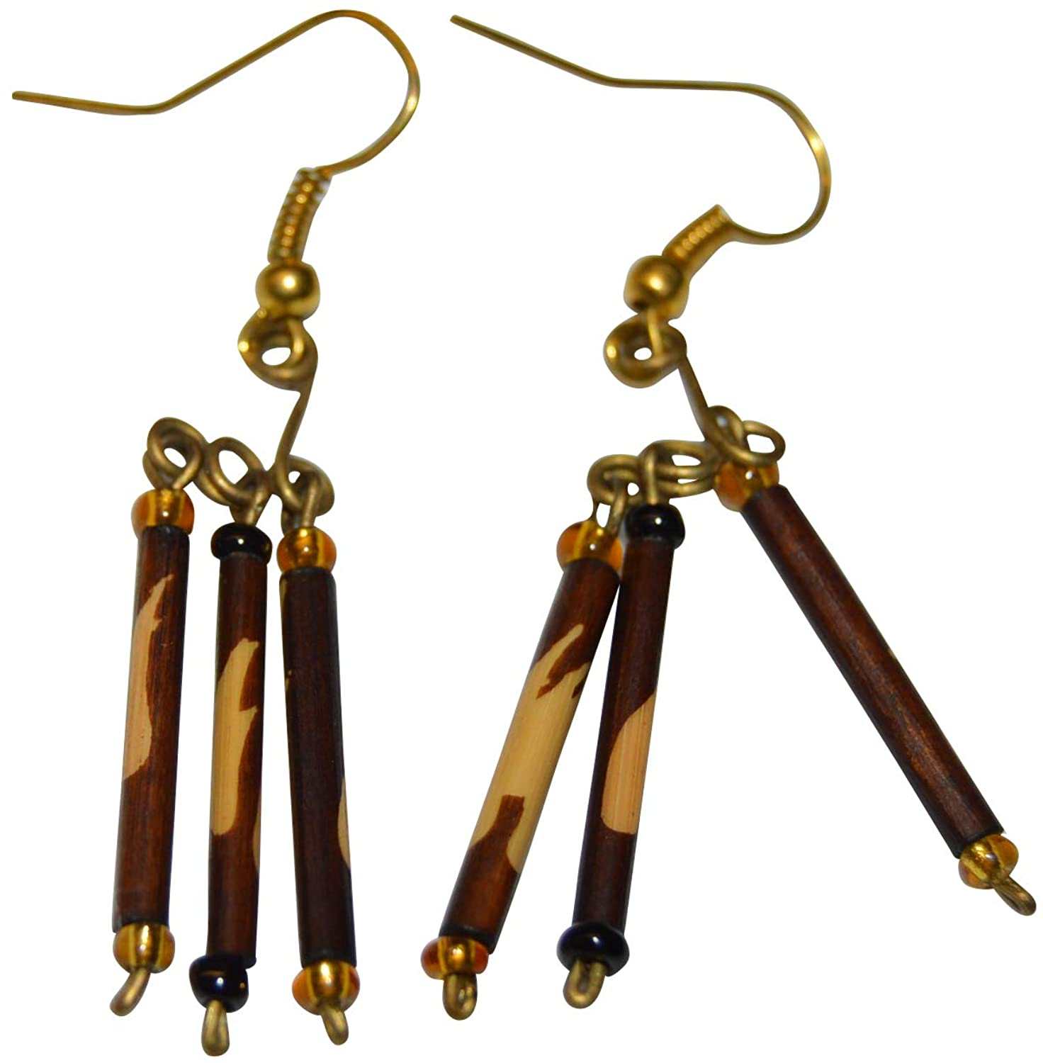 Beautiful African Women Earrings made with material| Handcrafted Geometric Shaped Drop Earrings | Stylish Wooden Dangle Fish Hook Earrings |Fit for all occasions | in Brown Color