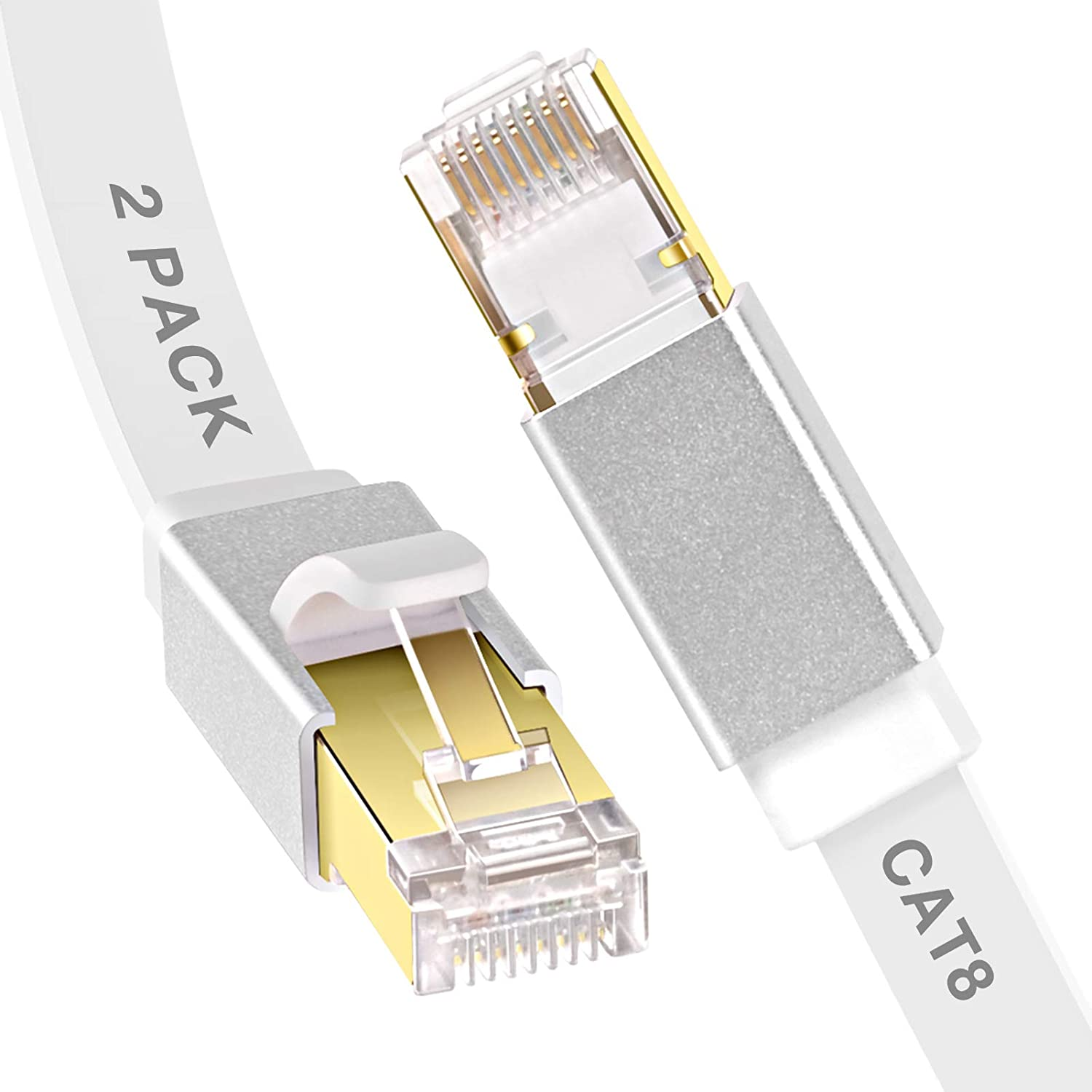 Ethernet Cable 10 ft, GLANICS 2 Pack Cat 8 Network Internet Cables, Flat LAN Cord with RJ45 Connector for PoE, Modem, Router, Switch, Gaming (White)