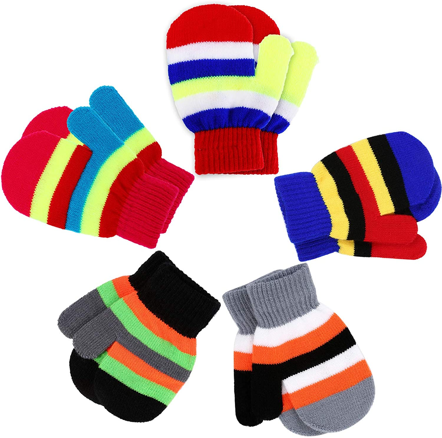 Boao 5 Pairs Stretch Full Finger Mittens Knitted Gloves Winter Warm Kid Gloves for Baby Boys and Girls Supplies (Color Set 6, 1-4 Years Size)