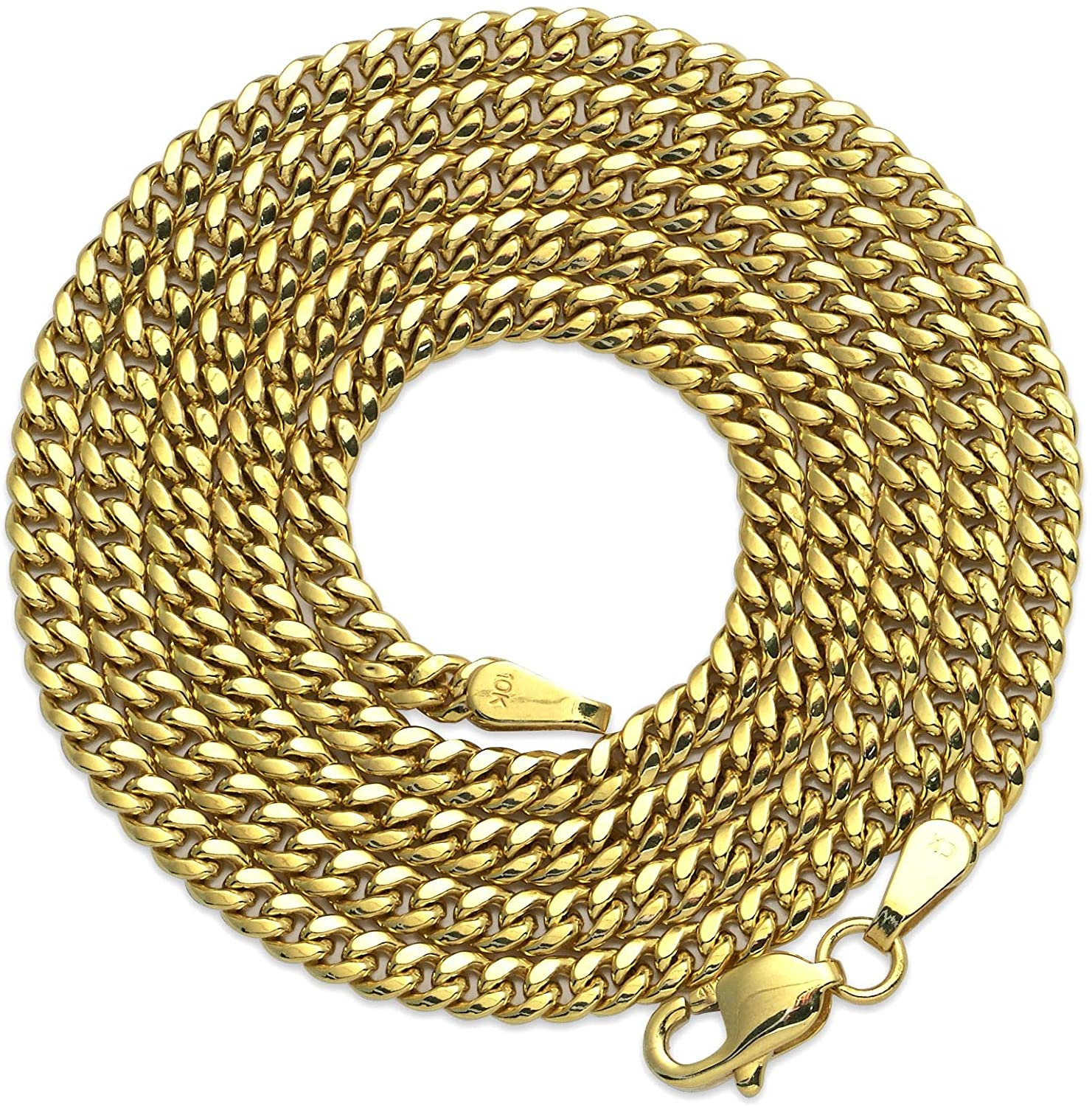 10k Yellow Gold 2.5mm Hollow Miami Cuban Necklace