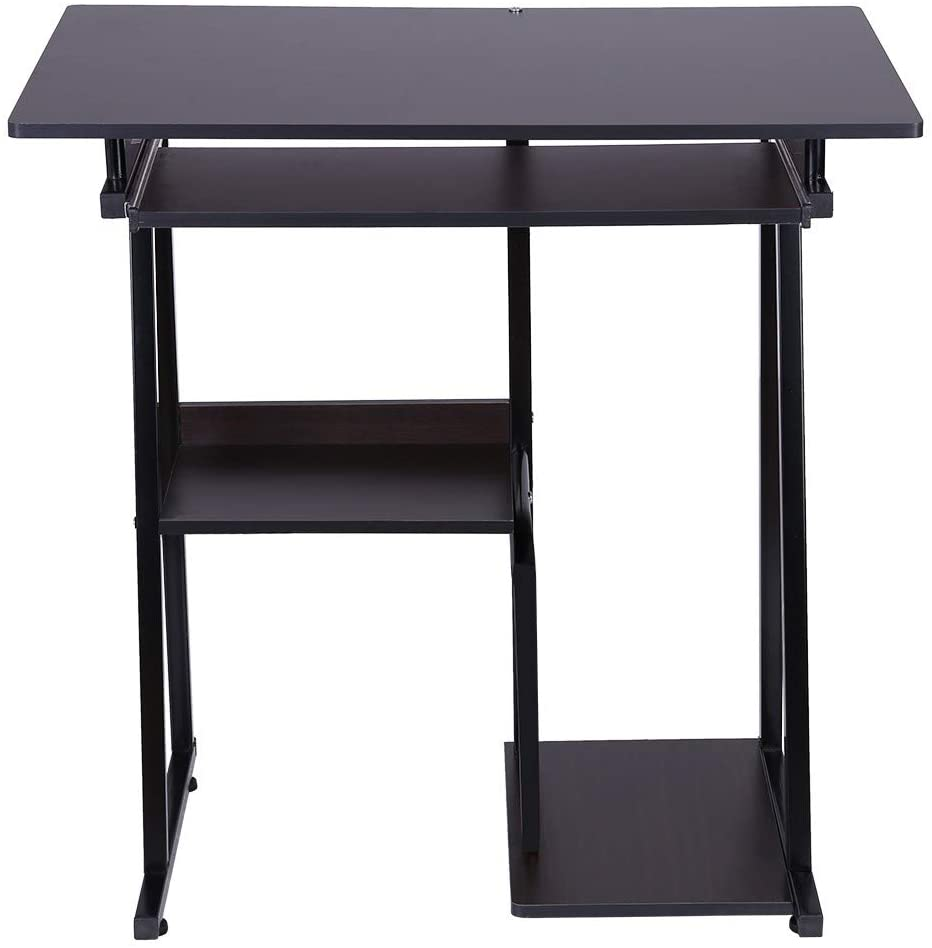 Desktop Computer Desk with Keyboard Tray - Study Table for Students - Office Desk with Bookshelf (Black)